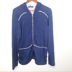 Fresh produce hooded blue zip front slouchy jacket